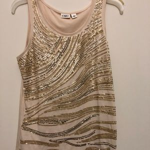 Tops - Festive Party Gold Sequin Tank Top Blouse